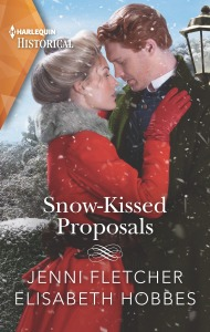 A couple dressed in Victorian clothing stand in the snow embracing each other. The title of the cover is Snow-Kissed Proposals